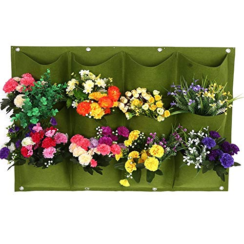 LLSS Planting Bags, 15 Pocket Wall Hanging Planting Bag Garden Balcony Flower Growing Container Plants Hanging Outdoor Indoor Vertical Planter Plant G