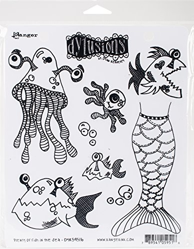 Ranger Plenty More Fish in The Sea Dyan Reaveley's Dylusions Cling Stamp Collections, 8.5'x7'