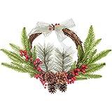 YQing 30.5cm Corona de Navidad, Artificiales Bayas Rojas Navidad Decoracion Coronas de Nav...