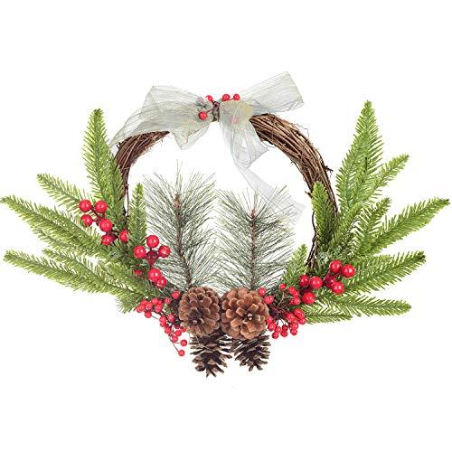 YQing 30.5cm Corona Ghirlanda Natale, Ghirlanda Natalizia con Bacca Rossa Natale Ghirlanda di Pino per Le Decorazioni Natalizie di Capodanno per Le Vacanze di Natale