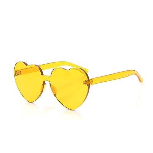 590d7d03ce4d OLINOWL Heart Oversized Rimless Sunglasses One Piece Heart Shape Eyewear  Colored Sunglasses for Women