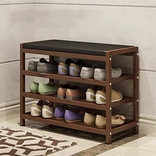 HLL Zapatero de hierro forjado para puerta, banco de zapatos simple, multicapa para el hogar, dormitorio económico, dormitorios, Mini marco de zapatillas,marrón