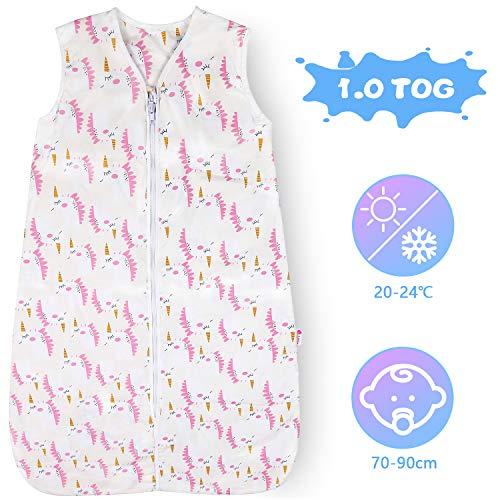 Lictin Schlafsack Baby Winterschlafsack 1.0 Tog Babyschlafsack Einstellbar 70-90cm für Neugeborene 3-18 Monate