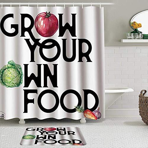 SUDISSKM Duschvorhang Set Badezimmer Matte rutschfeste,Kunstdruck Gemüse Zitat wachsen Sie Ihre eigenen Lebensmittel Kohl Tomaten Karotten Knoblauch,Wasserdicht Duschvorhang mit 12 Haken