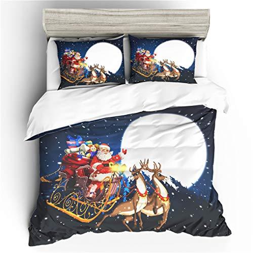 HNHDDZ Funda de edredón Navidad, Azul Rojo Papá Noel Trineo Reno Copo de Nieve Vistoso Navidad Tema Ropa de Cama,...