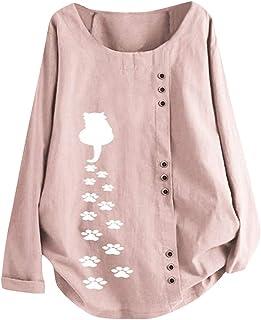 TUDUZ, Blusas Mujer Manga Larga Camisas Botón Camisetas Impresión Tops Suelto Talla Extra M-5XL