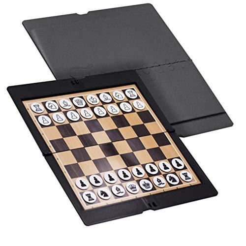 LIOOBO 1 Juego de Juego de Tablero de Ajedrez de Viaje Juegos de Ajedrez Damas Cuero Sintético Plegable Juguetes de Inteligencia Magnética para Adultos Escolares (Negro)
