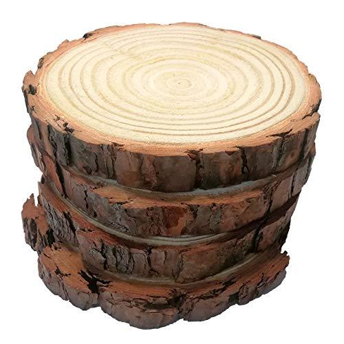 "Natural Wood Slices Round Circles Unfinished Tree Bark Log Discs for DIY Crafts Rustic Wedding Decoration Vintage Wedding (4pcs 5""-6"" 14-16cm)"