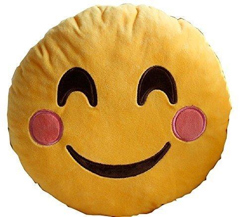 "PLUSH & PLUSH TM 12"" Inch / 30cm Large Emoji Pillows Smiley Emoticon Soft Plush Stuffed Yellow Roundy Full Collection (USA SELLER) (HAPPY)"