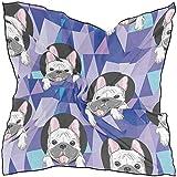 Pañuelo cuadrado Geométrico Animal Perro Bulldog Pañuelo de moda Envoltura ligera para el cabello Diademas Pañuelos de cuello ordenados para mujeres, 60x60 cm