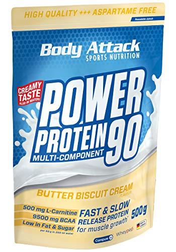 Body Attack Power Protein 90, 5K Eiweißpulver mit Whey-Protein, L-Carnitin und BCAA für Muskelaufbau und Fitness, Made in Germany (Butter Biscuit Cream, 500g)