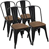 wood and metal kitchen chairs - Yaheetech 18 Inch Classic Iron Metal Dinning Chair with Wood Top/Seat Indoor-Outdoor Use Chic Dining Bistro Cafe Side Barstool Bar Chair Coffee Chair Set of 4 Black