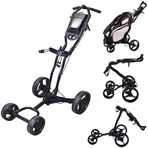 Affordable KFY Golf Push Cart 4 Wheel Folding Golf Trolley Lightweight 360 Swivel Golf Pull Cart with Adjustable Push Handle, Scorecard and Foot Brake, Easy Carry and Fold