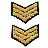 2 parches de galones dorados con 3 estacas militares, parches termoadhesivos de grado Sergent Chef para personalizar ropa y accesorios, 6,2 cm x 5 cm