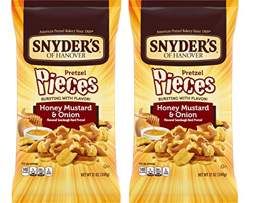 Snyder's of Hanover Honey Mustard Onion Flavored Pretzel Pieces 12 Oz. Bag (2 Pack) by Snyder's of Hanover