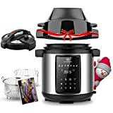 6Qt Pressure Cooker & Air Fryer Combos - Steamer Cooker, All-in-One Multi-Cooker with Pressure & Crisping Lid, LED Touchscreen, 1500W Pressure, Air Fryer with 3-Qt Air Fry Basket, Rice Cooker with Free Recipe Book & Accessories