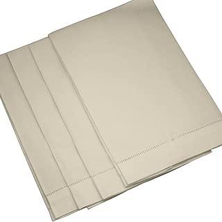 Bumblebee Linens 4 Pack Ecru Linen Hemstitched Tea Towels- 14