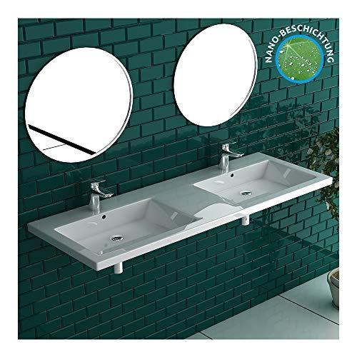 Alpenberger Moderne dubbele wastafel van hoogwaardig sanitair keramiek incl. nano-coating met overloop | klasse wastafel wastafel hangende wastafel extra voor uw perfecte badkamer