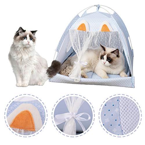 Sfit - Tenda per animali estivi, cuccia per gatto, letto da compagnia, rimovibile, lavabile, cuccia per cucciolo, colore: blu, M