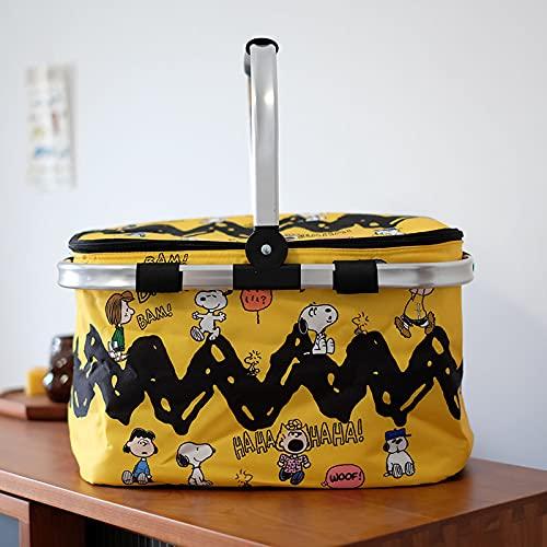 Rainny Cesta de la compra bolsa de hielo bolsa de aislamiento cesta de picnic con cubierta (color: amarillo1)