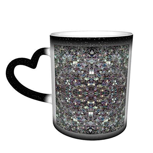 Taza de café con diseño de mosaico de plata brillante y colorido personalizado para manualidades, cerámica sensible al calor, taza de café con leche y regalo de cumpleaños