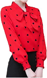 Coolred Womens Fit Long Sleeve Patterned Fashion Blouse Bowknot T-shirts