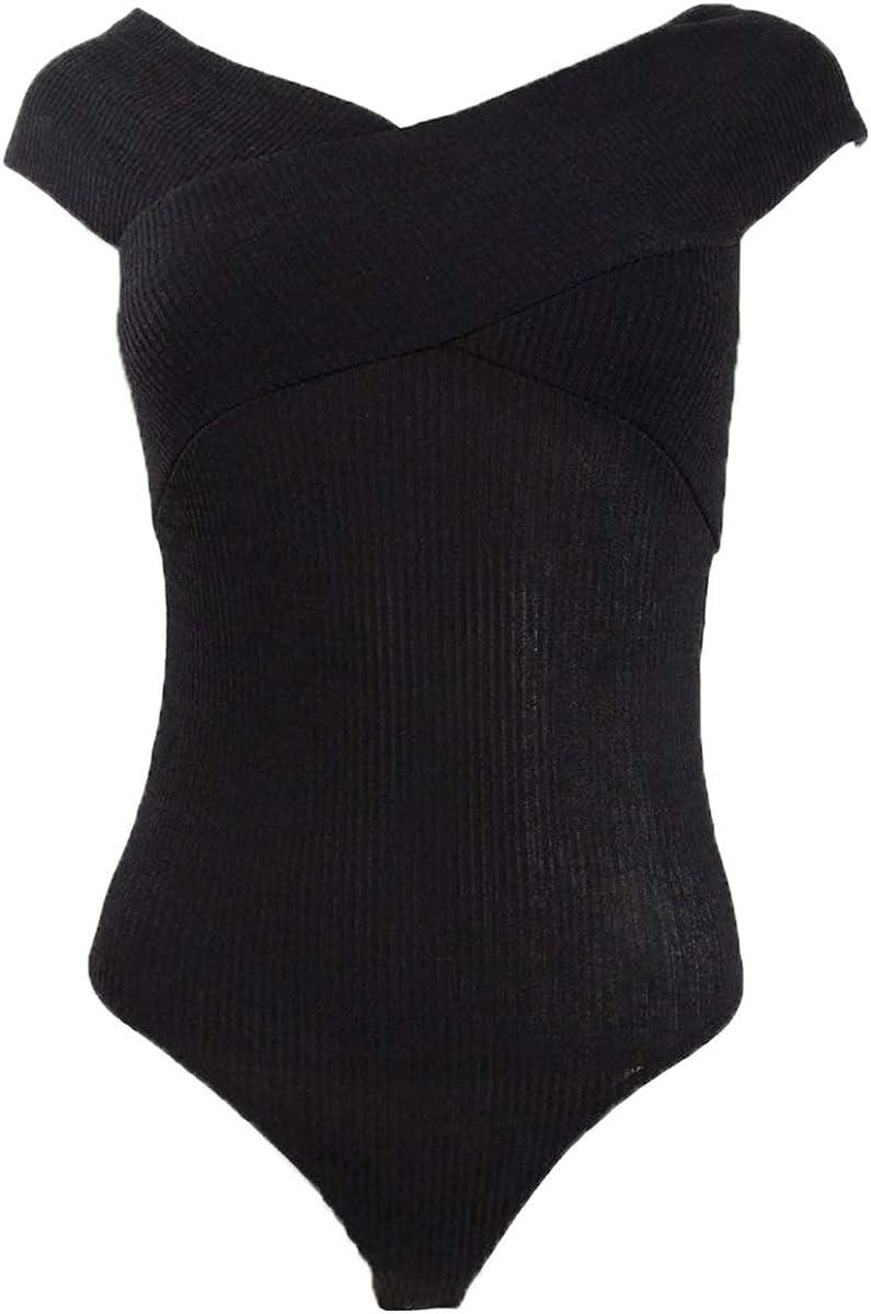 Bar III Womens Ribbed Crossover Bodysuit Black XS