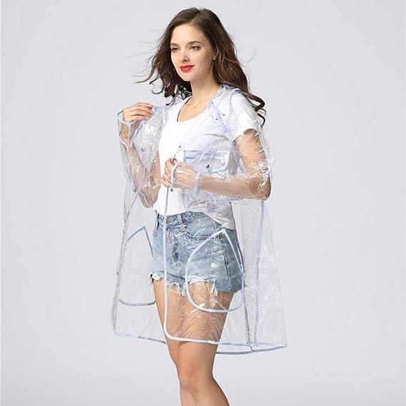 wiederverwendbar mit Kapuze mit Kordelzug Freesmily Super transparenter Regenmantel f/ür Damenmode Wasserdichter Regenponcho aus Eva