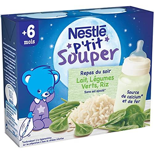 NESTLÉ Bébé - P'tit Souper - Lait Légumes Verts Riz - Soupe du soir - Dès 6 mois - 2 x 250ml
