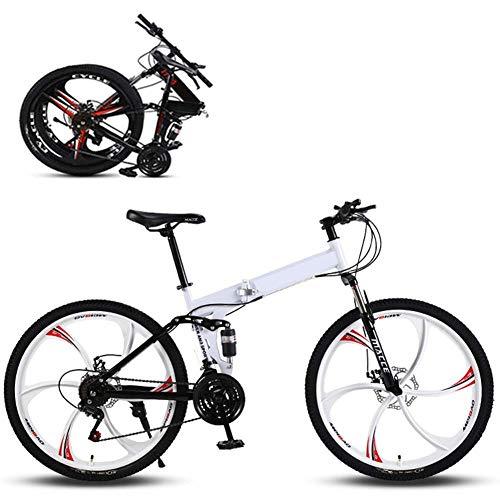 WLGQ Bicicleta de montaña Plegable, Bicicleta de Carretera, 6 impulsores, Bicicleta Ultraligera de 21 velocidades con Marco y Horquilla de Acero de Alto Carbono, Freno de Disco, para Hombre, muje