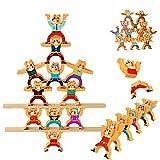 Qianpuren 12 Unids/Set Jenga Educativo, Juego de Equilibrio de Bloques Apilables de Madera - Juegos Acrobáticos Troupe 3D Puzzle Interlock Juguetes para Niños Regalo de Desarrollo Educativo (Oso)