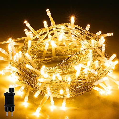 Lichterkette Aussen, LIGHTNUM 10M 100 LED Lichterkette Strom Warmweiß mit 8 Modi und Speicherfunktion, Wasserdichte IP44 für Balkon, Garten, Geländer, Weihnachten, Innen, Außen Dekoration