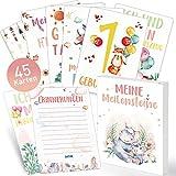 45 Meilensteinkarten Baby Karten Meilenstein Cards Erinnerungsbuch Geschenk Taufgeschenke für Junge Mädchen, Werdender Papa Mama, Schöne Fotokarten Geburt Taufe Babyparty Geschenkidee Deutsch