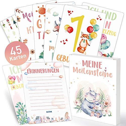 45 Meilensteinkarten Baby Karten Meilenstein Cards Deutsch Erinnerungsbuch Geschenk Taufgeschenke für Junge Mädchen, Werdender Papa Mama, Schöne Fotokarten Geburt Taufe Babyparty Geschenkidee