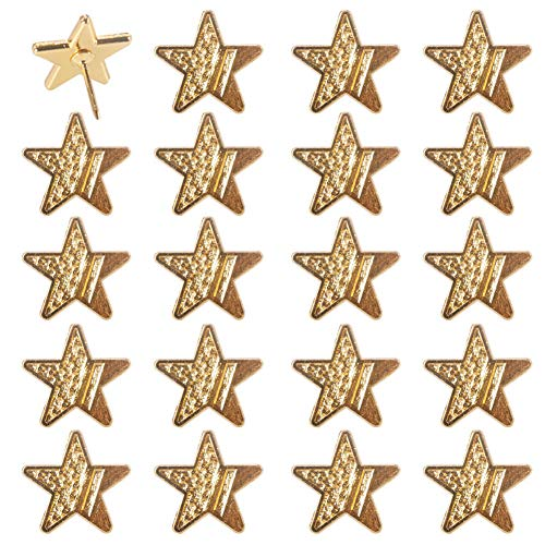Haidong 20 Pcs Gold Star Zinc Alloy Push Pin Multi-Functional Decorative Thumbtack Fixed Paper Photo Memo Note for Cork Board Map Drawing Pins Nail Office Accessories