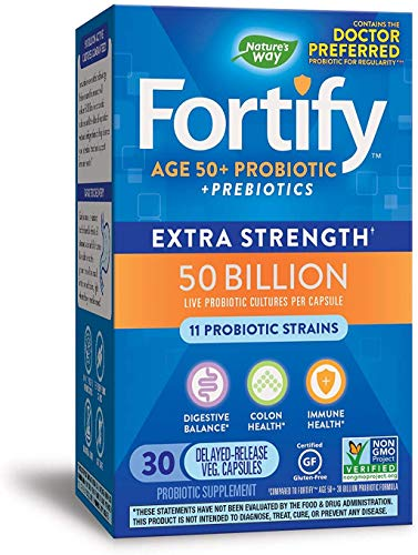 Nature's Way Fortify Extra Strength 50+ Daily Probiotic, 50 Billion, 11 Strains, 30 Capsules