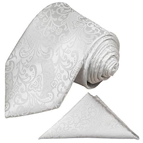 Paul Malone Krawatten Set 2tlg Krawatte + Einstecktuch weiß Hochzeitskrawatte Bräutigam