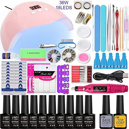 Kit de esmalte de uñas con 48W UV Light Starter Kit Set de esmalte de gel - 16 colores, lámpara de uñas LED con herramientas de manicura mejoradas (36W 10 color)