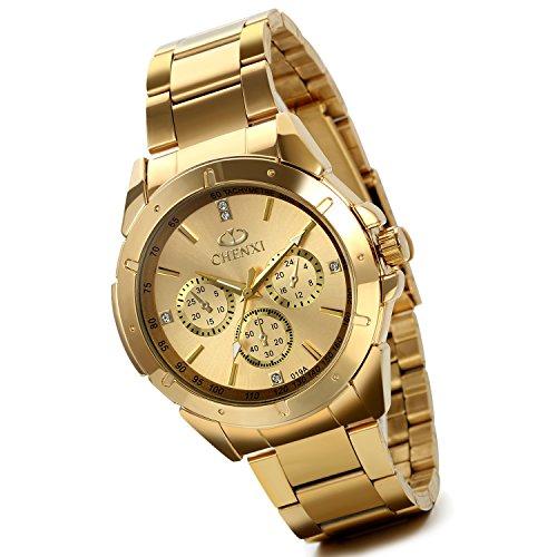 Lancardo, orologio da polso, da uomo, lussuoso, color oro, in acciaio inox, con 3 quadranti secondari
