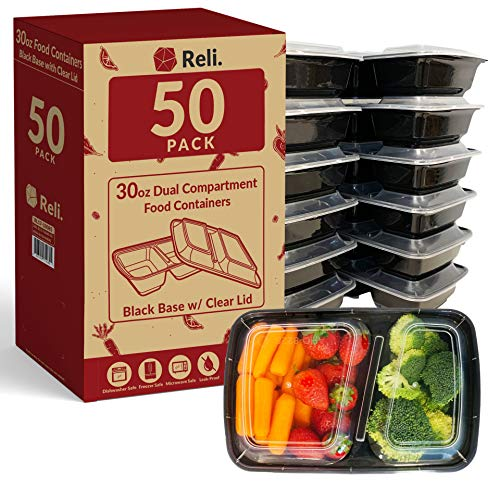 Reli Meal Prep Containers 30 oz 50 Pack - Black 2 Compartment Food Containers with Lids Microwavable Food Storage Containers - Black Reusable Bento BoxLunch Box Containers for Meal Prep 30 oz