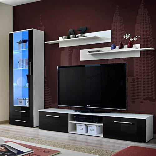 MAS Galino una unidad de pared sala de estar conjunto 250 cm de ancho alto brillo TV soporte dos estantes vitrina puerta cristal luces LED