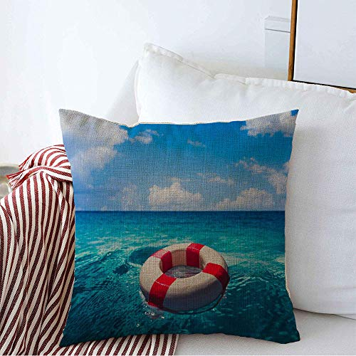 Pillow Cover Blue Belt Life Sos Saver Ring Floating Float Ocean On Red Lifebelt Preserver Beach Buoy Lifeguard Decorative Linen Throw Pillow Case 18 x 18 Inch for Sofa Car Bedding Decoration