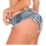 X-xyA Mujeres Sexy Baja Subida Mini Pantalones Cortos Denim Tanga Cheeky Jeans Shorts Denim Shorts,Blue,M