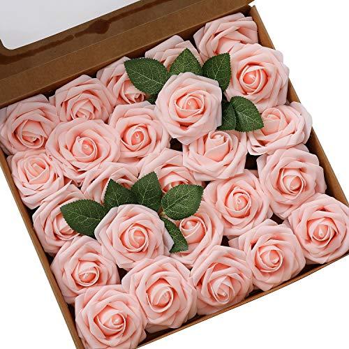 Ksnnrsng Flores Rosas Artificiales Espuma Rosa Falsa para Manualidades, Ramos de Novia, centros de Mesa, Despedidas de Soltera y Decoración del Hogar (25 Piezas, Rosa Claro)