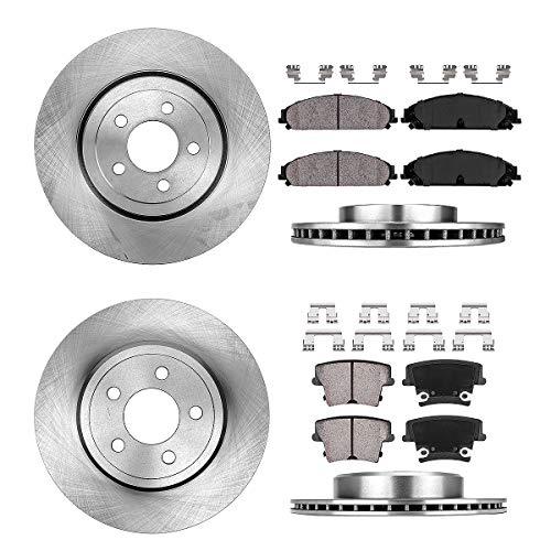 CRK14128 FRONT 344.93 mm + REAR 320.04 mm Premium OE 5 Lug [4] Rotors + Ceramic Brake Pads + Clips [fit Chrysler Dodge]