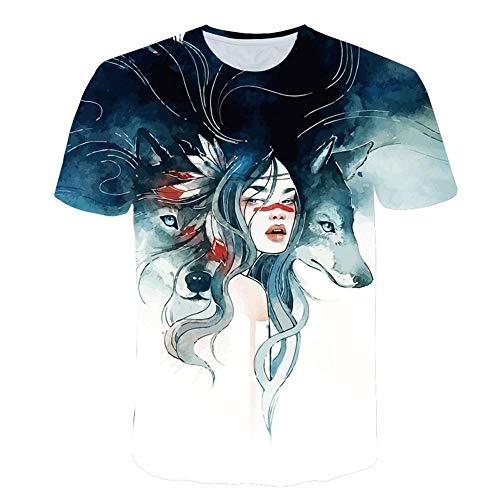 3D impresión Manga Corta Camiseta,Belleza y Lobo Cómodo tee-Shirt O-Cuello Casual Tops para Vacaciones de Verano de la Playa,XL