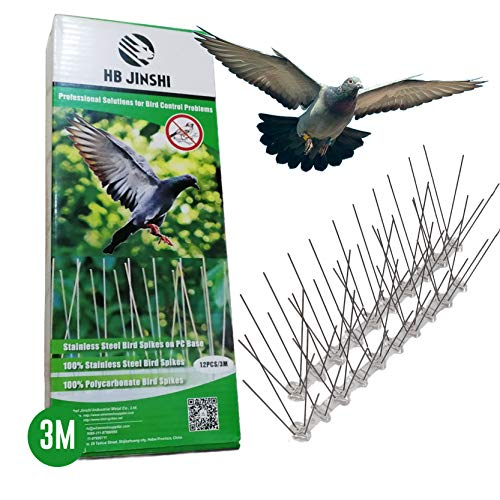 LAZZARU Pinchos Antipalomas Acero Inoxidable - 3 Metros – Pack 12 Hileras de 25 cm – Púas Repelentes de Aves – Kit Ahuyenta Pájaros – Sistema Espanta Palomas para Control de Plagas Jardín
