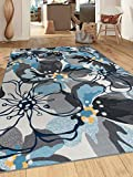 Rugshop Modern Large Floral Non-Slip Area Rug 6' 6' x 9' Gray