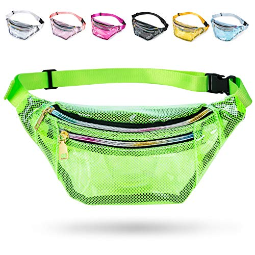 Grid Clear Fanny Pack, Fanny Packs for Women Cute Fanny Pack for Kids & Girls with 3 Pouches, Adjustable Belt, Fashion Men Waist Bags, Durable Hip Bag for (Green Fanny Packs for Women)