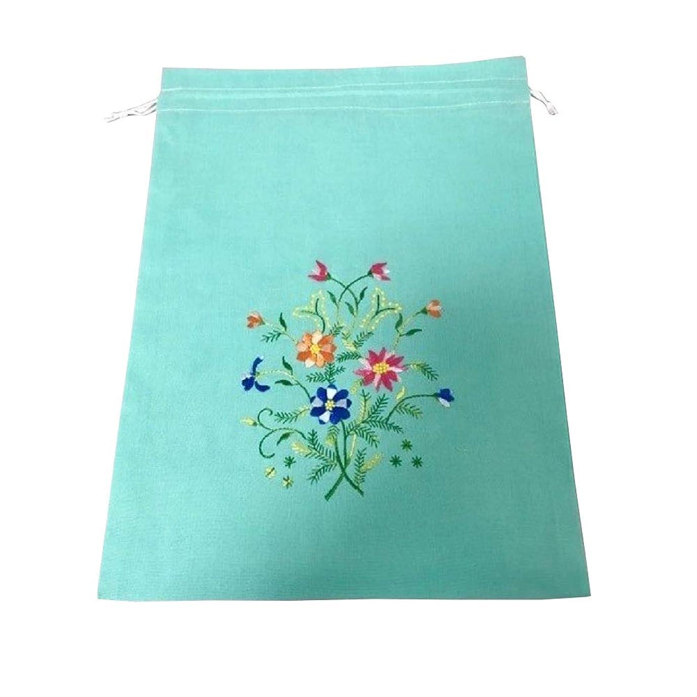 ボタン構成する慎重にベトナム 巾着 刺繍 コットン巾着 大サイズ ベトナム雑貨